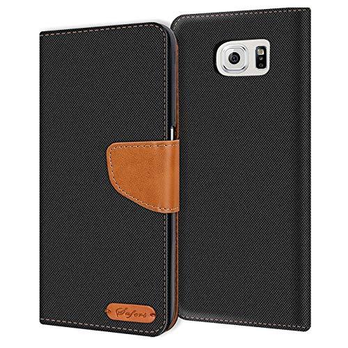 Conie Samsung Galaxy S6 Edge+ Plus Hülle für Galaxy S6 Edge+ Plus Tasche, Textil Denim Jeans Look Booklet Cover Handytasche Klapphülle Etui mit Kartenfächer, Schwarz