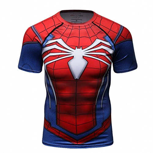 Cody Lundin® Hombres de compresión y Fitness Ropa Deportiva T-Shirt,3D superhéroe Superpersona Araña Bate Camisetas de Manga Corta (M, Photo Color)