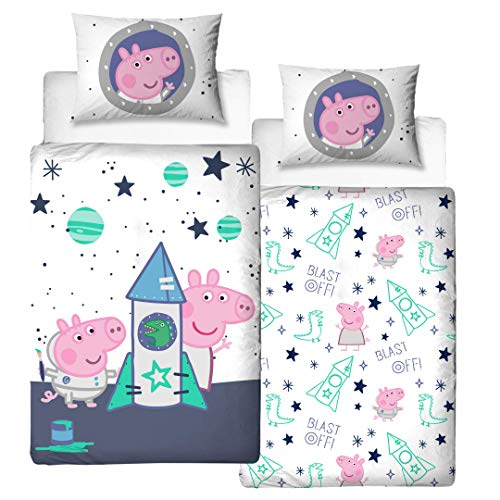 Character World Peppa Wutz Bettwäsche für Jungs und Mädchen Flanell/Biber · Baby-Bettwäsche Kinderbettwäsche George & Peppa im WELTALL · 1 Kissenbezug 40x60 + 1 Bettbezug 100x135 cm