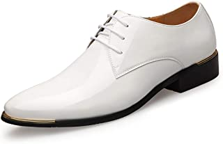 Oxford Newly Men's Pointed Dress Shoes Brown Lace-up Dress Shoes EU Size 38-45 Black Soft Man Oxford Shoes Comfortable Soft Lining Derby Saddle Shoes (Color : White, Size : 43)
