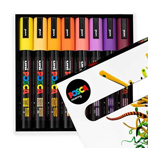 POSCA - PC-5M - Rotuladores de pintura - 1,8-2,5 mm - Tonos de puesta de sol Set de 8 en caja de regalo