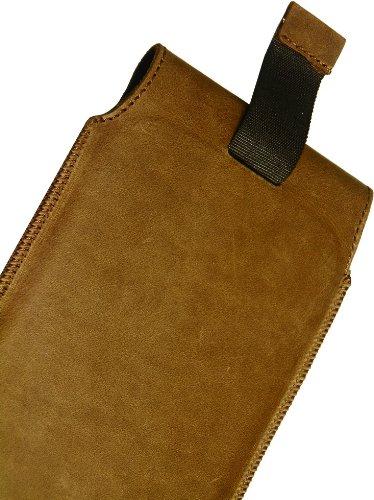 MATADOR Slim Design Vintage Look Antik Echt Leder Tasche für Huawei Ascend W1 Handytasche Schutz Hülle Etui Vertikaltasche Tabacco mit Magnetverschluß und Ausziehhilfe - 5