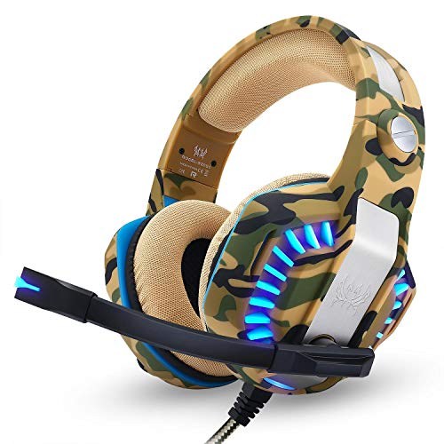 Kotion Each Over the Ear Headsets with Mic & LED - G2000 Pro Edition (Camo Yellow)