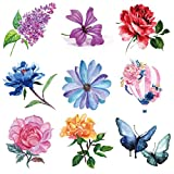 Oottati 9 Pieces Small Wrist Flower Red Yellow Rose Peony Hyacinth Blue Butterfly Pink Hot Air Balloon Temporary Tattoo
