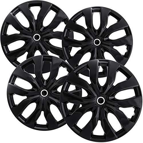 15 inch Hubcaps Best for Nissan Rogue - (Set of 4) Wheel Covers 15in Hub Caps Ice Black Rim Cover - Car Accessories for 15 inch Wheels - Snap On Hubcap, Auto Tire Replacement Exterior Cap