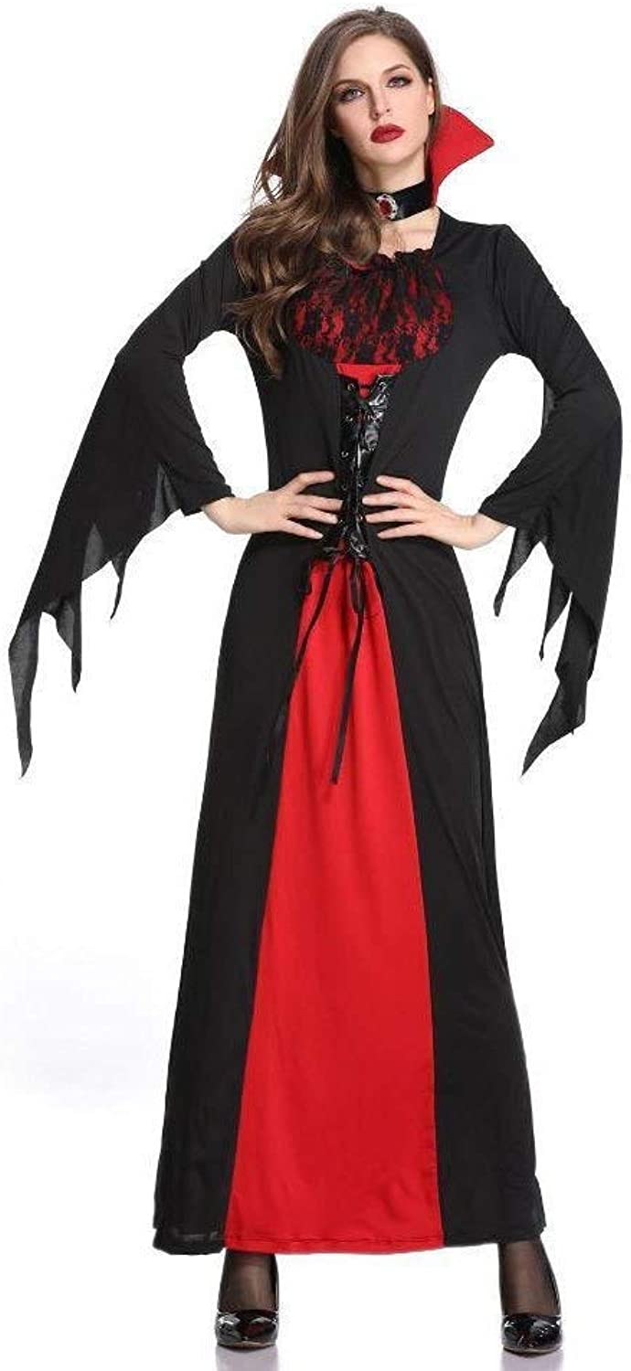 FashionCos1 Black Devil Halloween Cosplay Costume With Hat Tassel Witch Vampire Adult Woman Clubwear Cosplay Fancy Dresse Uniform (Size   M)