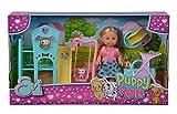 Evi Love Puppy Fun - Bambola con tre simpatici cuccioli di cane e un fantastico parco giochi per cani/altalena, scivolo e passeggino 2 in 1, 12 cm, adatto per bambini a partire dai 3 anni