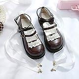 DJDLNK Zapatos Diarios De Niña Lolita Dulce Lindos Zapatos De Bowknot De Encaje Cabeza Redonda Zapatos De Mujer De Fondo Grueso