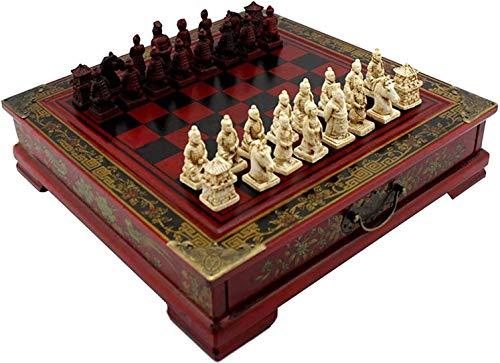 Muyuuu Juego de ajedrez Juegos de Viaje Juego de Tablero de ajedrez de Mesa clásico Antiguo Retro con cajón de Almacenamiento