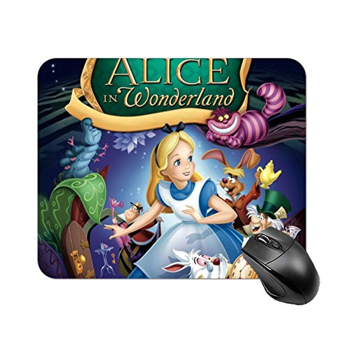 Mouse Pad, Cute Mouse Pad with Design, Non-Slip Rubber Base Mousepad with Stitched Edge, Waterproof Office Mouse Pad, Small Size 22 X 18 X 0.3cm (Alice-in-Wonderland)