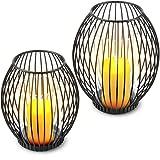 Decozey Kerzenständer schwarz Metall (2er Set) - Deko Windlicht Kerzenhalter mit Windschutz Dank Glas Zylinder - Laternen Kerzenleuchter als Kerzendeko zum Dekorieren im Wohnzimmer und mehr