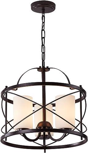 2021 LHLYCLX 3 - Light Lantern 2021 Geometric Chandelier, Farmhouse Drum popular Pendant Lighting Fixtures (Black) outlet sale