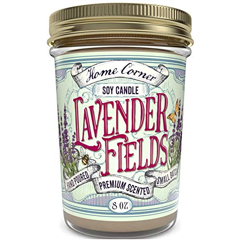 Home Corner Candles - Lavender Fields - Scented Soy Jar Candle - Great Gifts and Home Décor - Relaxing Stress Relief Aromatherapy - Hand Poured in the USA Highly Scented & Long Lasting Burn Time- 8 oz