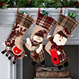 OurWarm Christmas Stockings, 3 Pcs 18 Inch Large Burlap Plaid Xmas Stockings with 3D Classic Snowflake Santa Snowman Reindeer Pattern Family Pack Stockings for Xmas Holiday Party Decorations