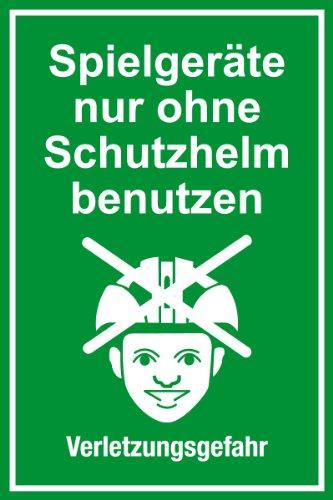 """Spielplatzschild\""""Spielgeräte nur ohne Schutzhelm benutzen\"""" aus Aluminium - in verschiedenen Größen erhältlich"""