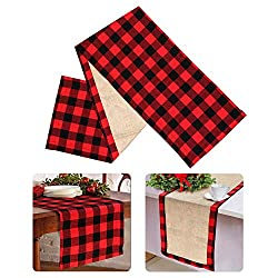 buffalo plaid christmas decor table runner