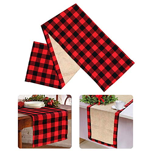 OurWarm Cotton Burlap Buffalo Plaid Table Runner, Christmas Reversible Red and Black Checkered Table Runners for Holiday Christmas Table Decorations, 14 x 72 Inch