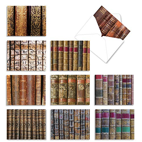 10 Assorted Thank You Cards with Envelopes (4 x 5.12 inch') - 'Take Cover' Gratitude Greeting Cards Featuring Antique Book Spines - All Occasions Note Card M3005