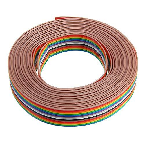 YALIXING JJBHD Electronic Accessoires & Supplies 5m 1,27mm Pitch-Band-Kabel 16P Flacher Farbe Regenbogen-Band-Kabel-Draht-Regenbogenkabel Um Ihnen die Qualität der Exzellenz bereitzustelle