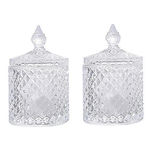 2 Piezas Tarro de Dulces de Cristal Con Tapa, Tarro de Caramelo de Cristal, Tarro Decorativo de Cristal Transparente, para Almacenar Dulces, Objetos Pequeños, Comida (Transparente)