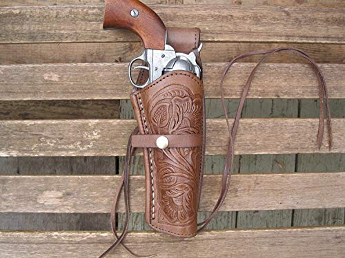 """Western Express – Right – for 6"""" Brown Tooled Leather Gun Holster (.44 .45 Caliber)"""