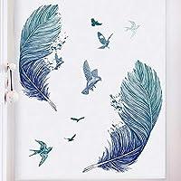 壁のステッカー、羽の水彩カラフルな壁紙シンプルな羽の壁のステッカーアートステッカー装飾的な壁部屋の自己接着壁デカール,ブルー
