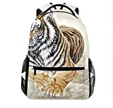 Unisex Chinese Painting Tiger Large Capacity Bag Casual Backpack For Hiking Climing Jogging