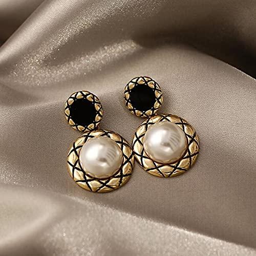 YANXIA Pendientes Colgantes de Fiesta de Perlas Vintage para Mujer Pendientes Largos Pendientes Grandes Decorativos Elegantes de Verano