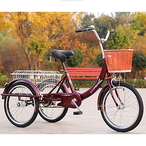 SN Triciclo para Adultos 20' Triciclo Bicicleta con 3 Ruedas Senior Wheel Cargo Bicicleta con Cestas Marco De Aleación City Outdoor Sports Shopping (Color : Wine Red)