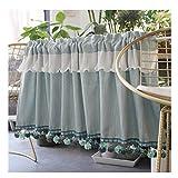 HRD Translúcidas Cortinas con Volantes Delicados y Bolas de Flecos Azul Claro Decoración Cortina para Dormitorio Infantil Salon 1 Pieza