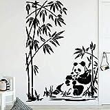HGFDHG Lindo Panda Pegatinas de Pared para la decoración de la habitación de los niños Planta Natural Vinilo de bambú decoración del hogar Sala de Estar