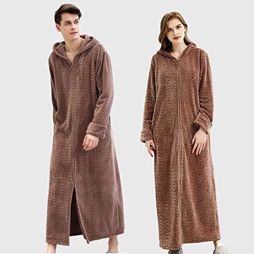 YRTHOR Winter Plus Size Lange Robe Kapuzenroben Verdicken Flanell Kimono für Paare...