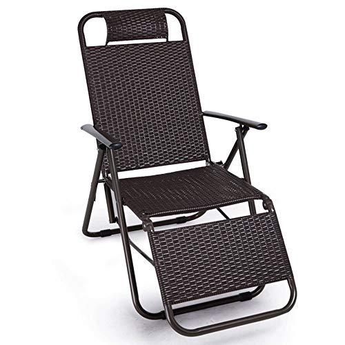 KaiKai Liegesessel Rattan Klappstuhl Beach Chair Büro Mittagspause Stuhl Freizeit-Stuhl Camping Gartenstuhl Ergonomische High Load Bearing Sicherheit Tasteless Stuhl Klappstuhl