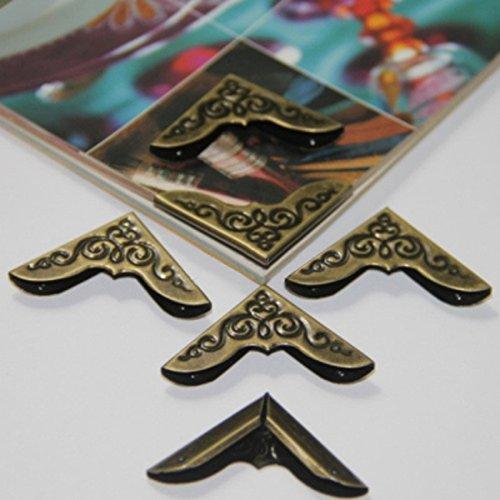 Bluelover 8Pcs Libro Bronce Antiguo Álbum Menú Carpetas Protectores De La Esquina