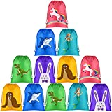 KUUQA 12 Pack Unicorn Shark Mermaid Drawstring Bags Party Favor Bags Goodie Bags Bulk Giveaway Gift Bags Treat Bags for Unicorn Shark Mermaid Birthday party, Baby Shower 12 x 9.5 Inches