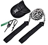 Pocket Chainsaw Emergency Outdoor Survival Gear Folding Chain Hand Saw with Fire Starter Carry Pouch for Camping, Hunting, Tree Cutting, Hiking, Backpacking (Black handle 25inch-11teeth)