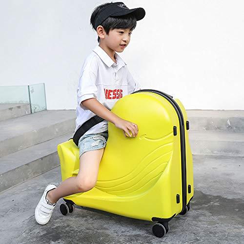 キッズスーツケース、女の子用20インチハードシェルラゲッジ、トラベルバッグに乗るキャリー、子供用トロリー荷物、おもちゃ収納ボックス,yellow