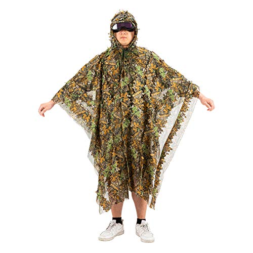 Pinty 3D Bionic Ghillie Suit Leafy Outdoor Camo for Hunting Airsoft Wildlife Photography Bird Watching Breathable Woodland Forest/Jungle Camouflage Poncho for Men Women Military Hunting Gear