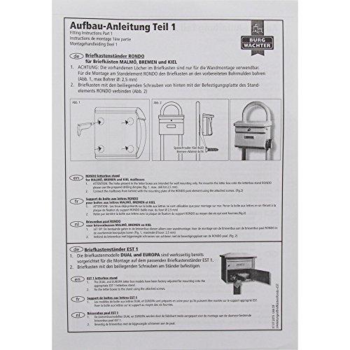 BURG-WÄCHTER, Rohrbogen Briefkasten-Ständer, Aluminium, Rondo 145 W, Weiß - 6