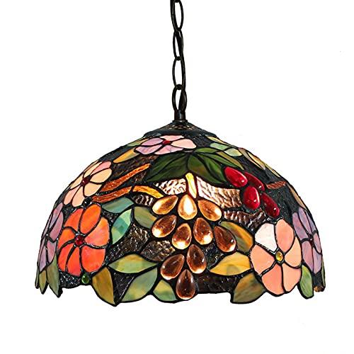 QQYY Lámpara Colgante Estilo Tiffany, Candelabro joyería Creativa Pastoral diseño de UVA, lámpara de araña de Comedor, lámpara de Techo de Vidrio teñido para Cocina, Barra de café, Sala de Estar