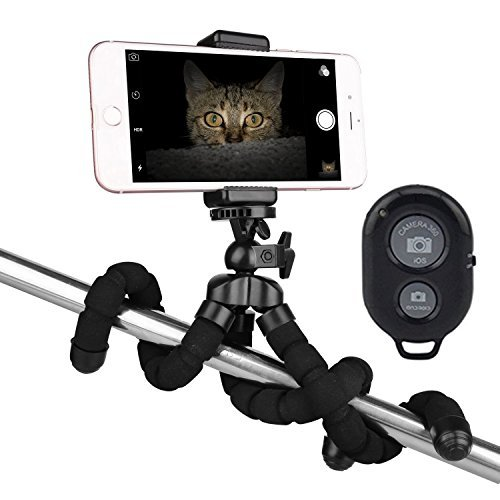 Trépied téléphonique Octopus,You King trépied et support de caméra pour iphone / Smartphone universel / Téléphone portable / Appareil radio installé avec télécommande(Noir)