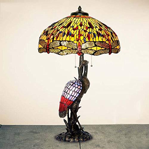 Bear & MH Tiffany Style tafellamp, Europese kunstverzameling, tafellamp, zuiver koperen sokkel en gekleurd glas, slaapkamer, salontafel, woonkamer, bedlampje E27 E14
