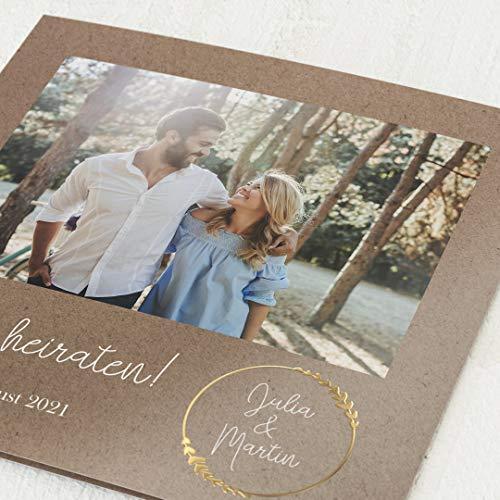 sendmoments Hochzeit Einladungskarten, Erdgebunden, 5er Klappkarten-Set quadratisch, personalisiert mit Wunschtext & persönlichen Bildern, mit Gold Veredelung, optional passende Design-Umschläge