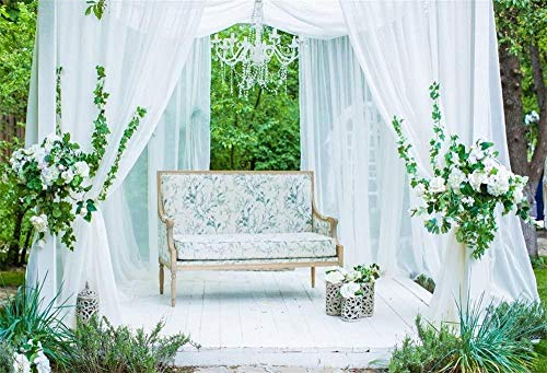 HD 10x7ft Exquisite White Sofa Backdrop for Wedding Photography Luxurious Decorated Park Gazebo White Curtains Photo Background Family Party Events Photo Studio Props