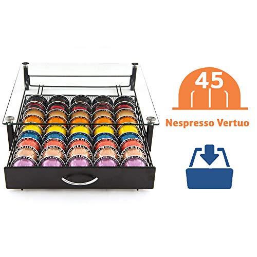 Peak Coffee 45 Pads Glazen Opbergvak Houder Compatibel met Nespresso Vertuo Vertuoline en Dolce Gusto Pads of Capsules – Grootste Vertue Capsule Vak Beschikbaar