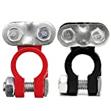 Red & Black Top Post Battery Terminal Insulator Covers Protector Clamp Clip (Wire connector,...
