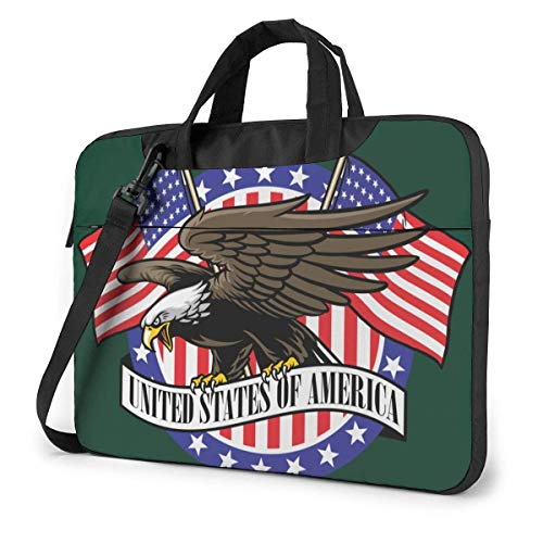 Adults Student Laptop Bag Protective Notebook Computer Protective Cover Handbag Eagle Grip USA Ribbon Sign with Flag Pattern