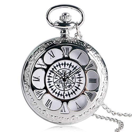 Pocket Watch Popular Anime Black Butler Kuroshitsuji Cosplay Sebastian Ciel Silver Necklace Chain Pocket Watch Unisex Valentine Gifts