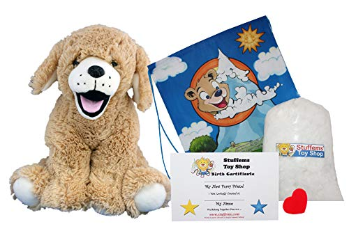 Make Your Own Stuffed Animal 'Goldie The Lab/Retriever' - No Sew - Kit With Cute Backpack!