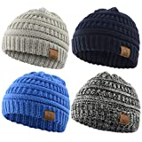 Durio Hat Baby Winter Hats Fall Knit Baby Boy Hat Soft Beanie Hat Thick Warm Infant Beanie Toddler Baby Gifts 4 Pack Black White & Light Grey & Navy & Blue